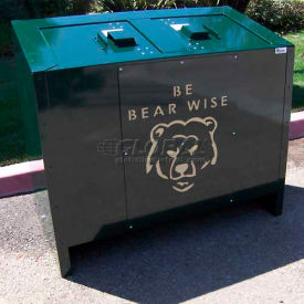 BearSaver BE Series 140 Gal. Animal Resistant Double Recycling Receptacle -Green