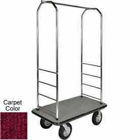 "Easy Mover Bellman Cart Chrome, Red Carpet, Black Bumper, 8"" Black Pneumatic"