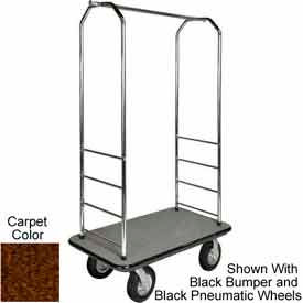 "Easy Mover Bellman Cart Chrome, Brown Carpet, Gray Bumper, 8"" Poly"