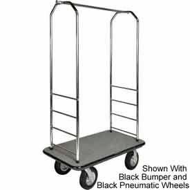 """Easy Mover Bellman Cart Chrome, Gray Carpet, Gray Bumper, 8"""" Poly"""