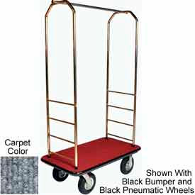 "Easy Mover Bellman Cart Brass, Gray Carpet, Gray Bumper, 5"" Gray Poly"