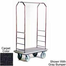 "Easy Mover Bellman Cart Stainless, Black Carpet, Black Bumper, 5"" Gray Poly"