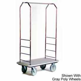 "Easy Mover Bellman Cart Stainless Steel, Gray Carpet, Gray Bumper, 8"" Black"