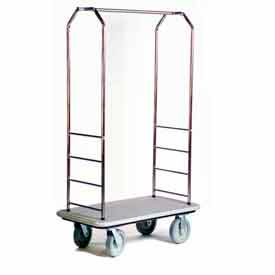 Easy Mover Bellman Cart Stainless Steel, Gray Carpet, Gray Bumper