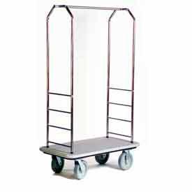 Easy Mover Bellman Cart Stainless Steel, Gray Carpet, Gray Bumper