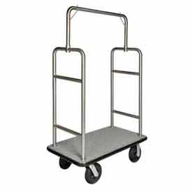 "CSL HD Square Bellman Cart Stainless, Gray Carpet, Black Bumper, 8"" Black Pneumatic"