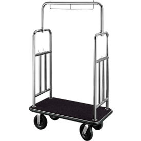 "CSL HD Square Bellman Cart 2799BK-010-BLK Stainless, Black Carpet, Black Bumper 8"" Pneumatic"