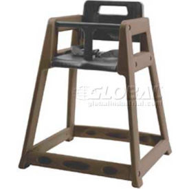CSL Plastic High Chair with Casters, Brown, Assembled