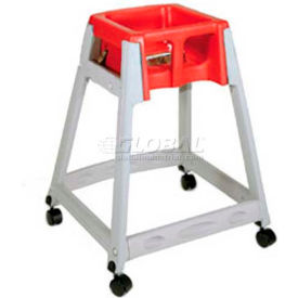 CSL KidSitter™ High Chair with Casters, Gray Frame/Red Seat