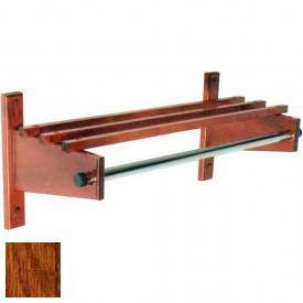 "30"" Wood Coat Rack with Wood Top Bars & 1"" Hanging Rod, Dark Oak"