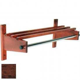"36"" Wood Coat Rack with Wood Top Bars & 1"" Hanging Rod, Mahogany"
