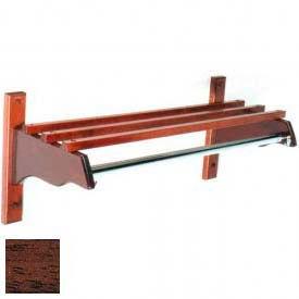 """30"""" Stylish Wood Coat Rack w/ Wood Top Bars & 1"""" Hanging Rod, Mahogany"""