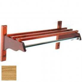 """48"""" Stylish Wood Coat Rack w/ Wood Top Bars & 5/8"""" Mini Rod, Light Oak"""