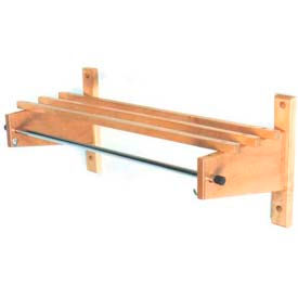 "30"" Deluxe Wood Coat Rack with Wood Top Bars & 5/8"" Mini Rod, Light Oak"