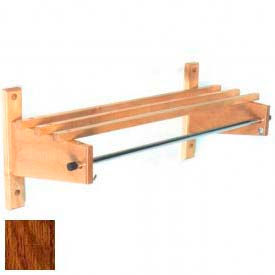 "48"" Deluxe Wood Coat Rack with Wood Top Bars & 5/8"" Mini Rod, Dark Oak"