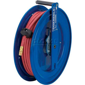 "Spring Rewind Hose Reel For Air/Water/Oil: 3/8"" I.D., 25' Hose, 300 PSI, Left Mount, Low Pressure"
