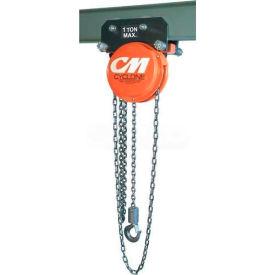 CM Cyclone Hand Chain Hoist on Plain Trolley, 3 Ton, 10 Ft. Lift