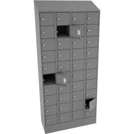 """Tennsco 40 Door Cell Phone Locker CP10-091572-D-MGY 4 Wide w/Hasp 36""""W x 15""""D x 82-3/4""""H Med Gray"""
