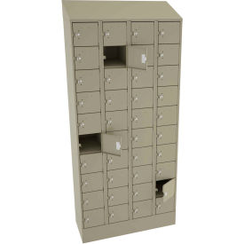 "Tennsco 40 Door Cell Phone Locker CP10-091572-D-SND - 4 Wide w/Hasp - 36""W x 15""D x 82-3/4""H Sand"
