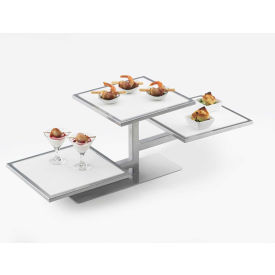"""Cal-Mil 1140-74, One by One 3 Tiered Riser 32-1/4""""W x 13""""D x 10-1/2""""H, Silver Frame"""