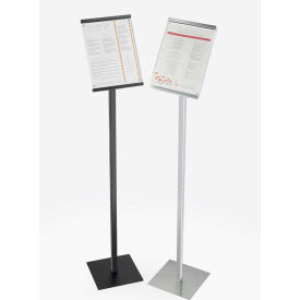 """Cal-Mil 1153-46-13 Tall Metal Magnetic Sign Display for 8"""" x 11"""" Sign 8-1/2""""W x 11""""D x 46""""H Black"""