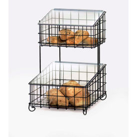 """Cal-Mil 1203-13 2 Tier Wire Frame with Inserts 14""""W x 17""""D x 21""""H Black"""