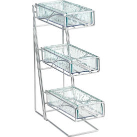 """Cal-Mil 1235-39-60 3 Tier Flatware Display With Bamboo Bins 5-1/4""""W x 14""""D x 18""""H Silver"""