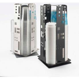 "Cal-Mil 1615-13 Squared Revolving Cup & Lid Dispenser 8-1/4""W x 8-1/4""D x 18-1/4""H Black"