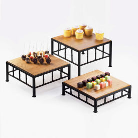 """Cal-Mil 1711-3-60 Iron and Bamboo Riser 12""""W x 12""""D x 3""""H"""