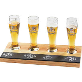 """Cal-Mil 2063 Write-on Beer Sampler Tray, Natural Wood 12 x 6 x 3/8""""H"""
