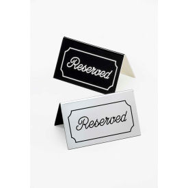 """Cal-Mil 273-10 Engraved """"Reserved"""" Sign 5""""W x 3""""H Silver with Black Letters - Pkg Qty 12"""
