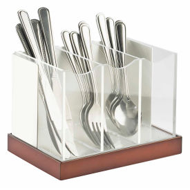"Cal-Mil 3015-55 Luxe Flatware Organizer White and Stainless Steel 8-1/8""W x 5-5/8""D x 6""H"