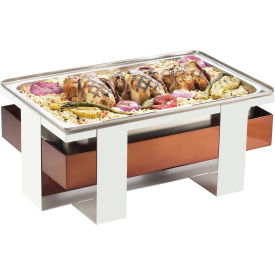 """Cal-Mil 3017-55 Luxe Chafer 21-3/4""""W x 13-3/4""""D x 9""""H White and Stainless Steel"""