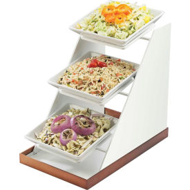 """Cal-Mil 3022-55 Luxe Three Bowl Display 10""""W x 16-1/4""""D x 17""""H White and Stainless Steel"""
