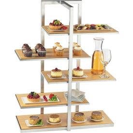 """Cal-Mil 3304-60 Bamboo Multi Level Shelf Display with Silver Stand 28-1/2""""W x 13-1/2""""D x 36-1/2""""H"""