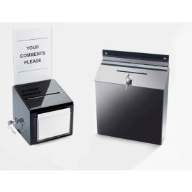 "Cal-Mil 388 Suggestion Box 12""W x 3-1/2""D x 15""H Black"