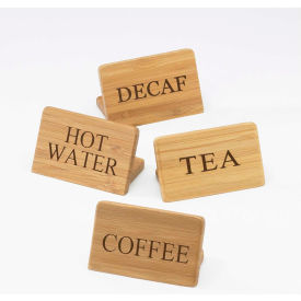 """Cal-Mil 606-3 Hot Water Bamboo Beverage Sign 3""""W x 2""""H - Pkg Qty 12"""