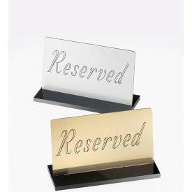 "Cal-Mil 956-10 Black Base Reserved Sign 5""W x 1""D x 3""H Silver - Pkg Qty 12"