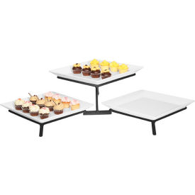 """Cal-Mil SR1600-39 Metal Wire Square 2 Tier Stand 16""""W x 31""""D x 9""""H Platinum"""
