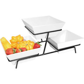 """Cal-Mil SR2030-13 2 Tier Metal Wire Stand For 3 Bowls Black 9""""W x 25""""D x 11""""H"""