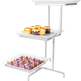 "Cal-Mil SR2301-39 Offset 3 Tier Square Stand 16""W x 22""D x 26""H Platinum"
