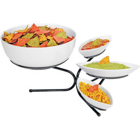 """Cal-Mil SR801-39 Incline Tiered Bowl and Canoe Display 17""""W x 27""""D x 11""""H Platinum"""
