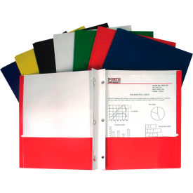 C-Line Products Recycled Two-Pocket Paper Portfolios with Prongs, Assorted (Color May Vary) - Pkg Qty 100
