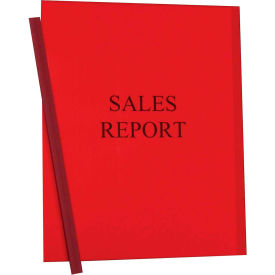 C-Line Products Vinyl Report Covers with Binding Bars, Red, Matching Binding Bars, 11 x 8 1/2, 50/BX