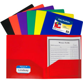 C-Line Products 2-Pocket Heavyweight Poly Portfolio Folder w/ Business Card Holder, Assorted Colors Package... by