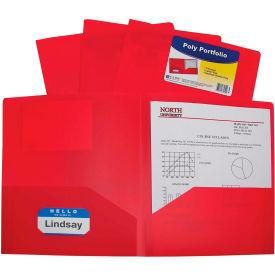 C-Line Products Two-Pocket Heavyweight Poly Portfolio Folder, Red - Pkg Qty 18