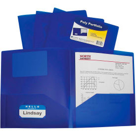 C-Line Products Two-Pocket Heavyweight Poly Portfolio Folder, Blue Package Count 18 by