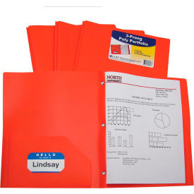 C-Line Products Two-Pocket Heavyweight Poly Portfolio Folder with Prongs, Orange Package Count 12 by