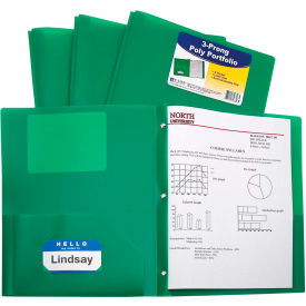 C-Line Products Two-Pocket Heavyweight Poly Portfolio Folder with Prongs, Green Package Count 12 by