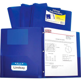 C-Line Products Two-Pocket Heavyweight Poly Portfolio Folder with Prongs, Blue Package Count 12 by